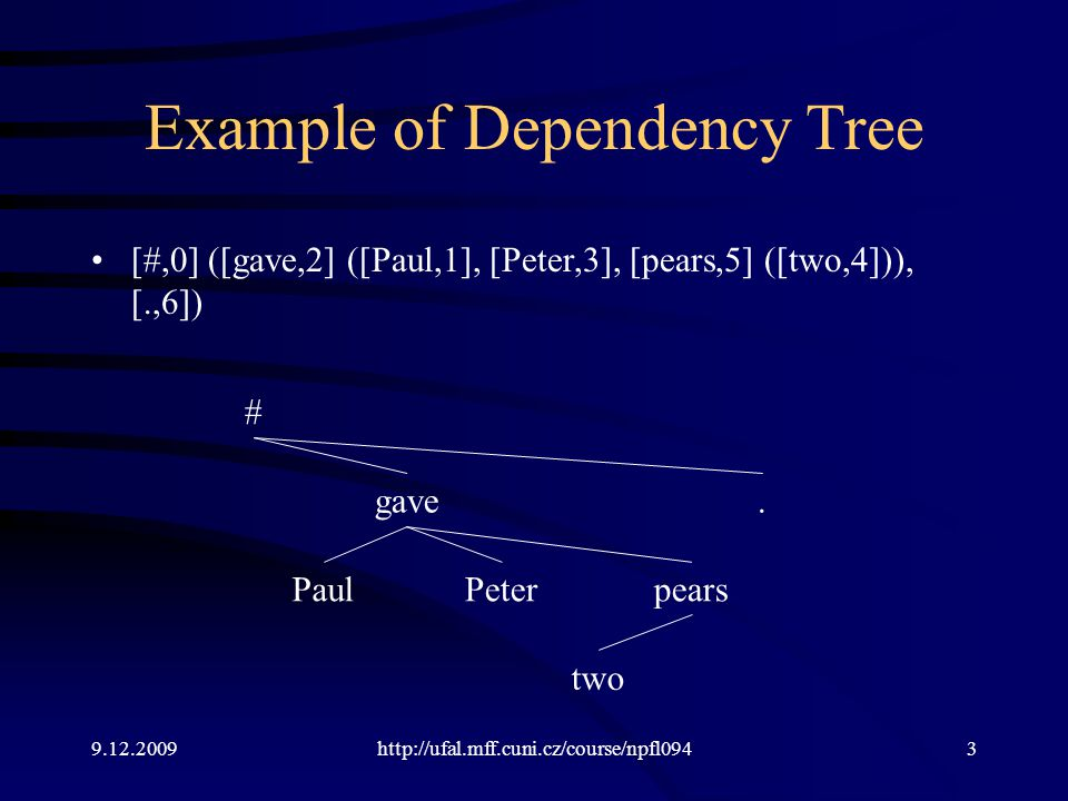 9.12.2009http://ufal.mff.cuni.cz/course/npfl0944 Dependency Labels Paul / Sb gave / Pred Peter / Obj two / Atr pears / Obj.