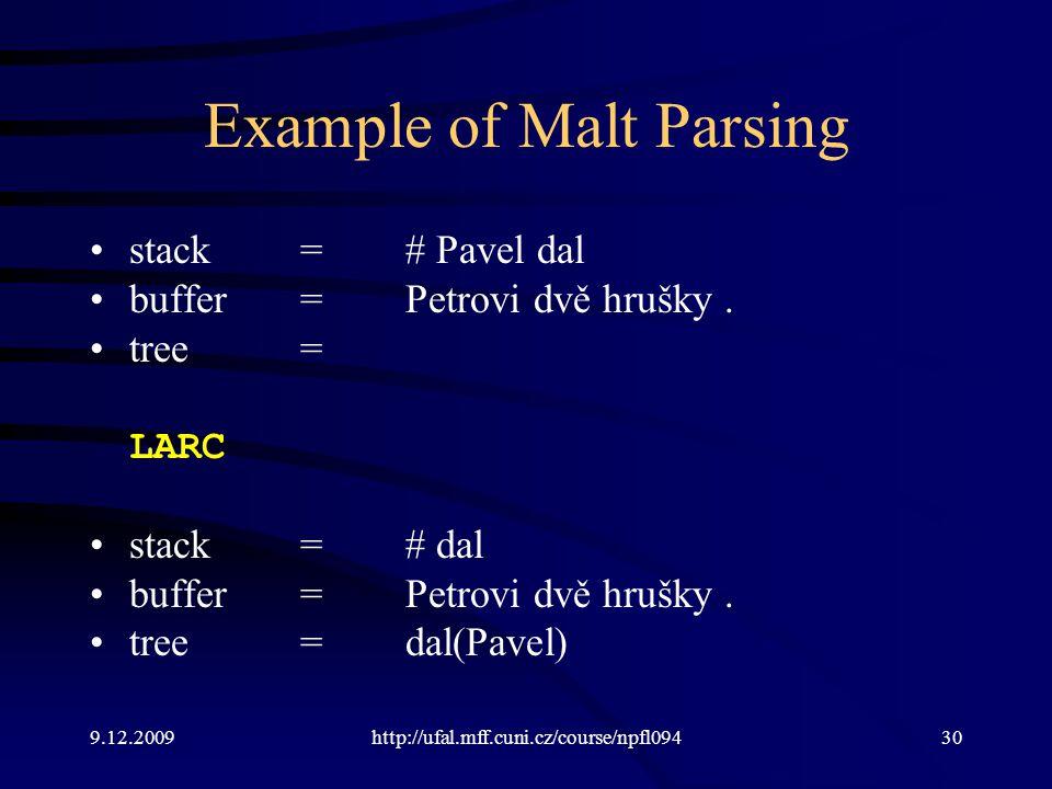 9.12.2009http://ufal.mff.cuni.cz/course/npfl09430 Example of Malt Parsing stack=# Pavel dal buffer=Petrovi dvě hrušky.