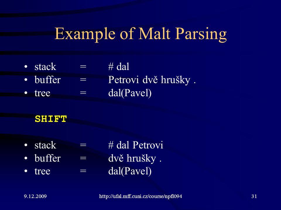 9.12.2009http://ufal.mff.cuni.cz/course/npfl09431 Example of Malt Parsing stack=# dal buffer=Petrovi dvě hrušky.