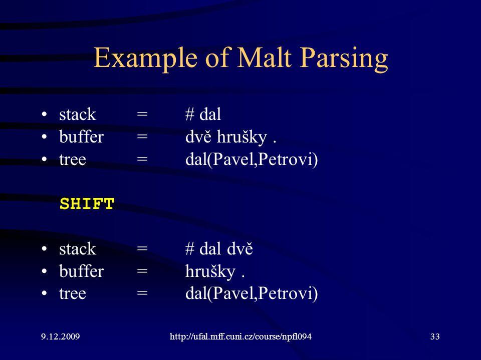 9.12.2009http://ufal.mff.cuni.cz/course/npfl09433 Example of Malt Parsing stack=# dal buffer=dvě hrušky.