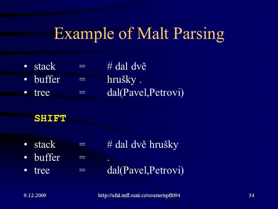 9.12.2009http://ufal.mff.cuni.cz/course/npfl09434 Example of Malt Parsing stack=# dal dvě buffer=hrušky.