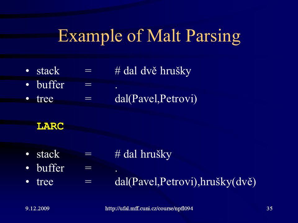 9.12.2009http://ufal.mff.cuni.cz/course/npfl09435 Example of Malt Parsing stack=# dal dvě hrušky buffer=.