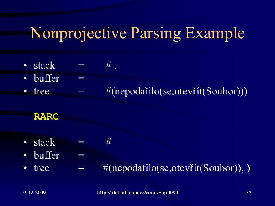 9.12.2009http://ufal.mff.cuni.cz/course/npfl09453 Nonprojective Parsing Example stack=#. buffer= tree=#(nepodařilo(se,otevřít(Soubor))) RARC stack=# b