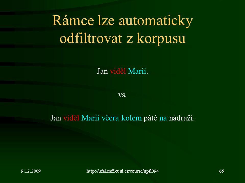 9.12.2009http://ufal.mff.cuni.cz/course/npfl09465 Rámce lze automaticky odfiltrovat z korpusu Jan viděl Marii.