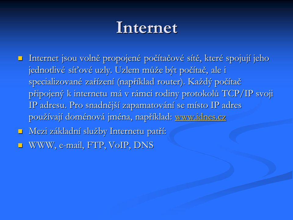 Internet Internet jsou volně propojené počítačové sítě, které spojují jeho jednotlivé síťové uzly.