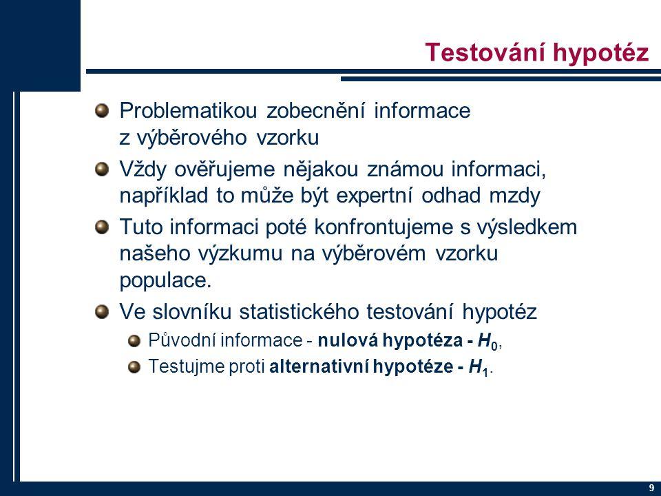 Příklad 2 10 Přejeme si testovat průměrnou výšku muže v ČR.