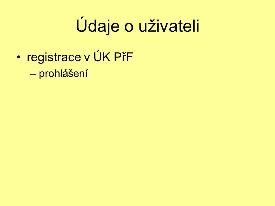 Údaje o uživateli registrace v ÚK PřF –prohlášení