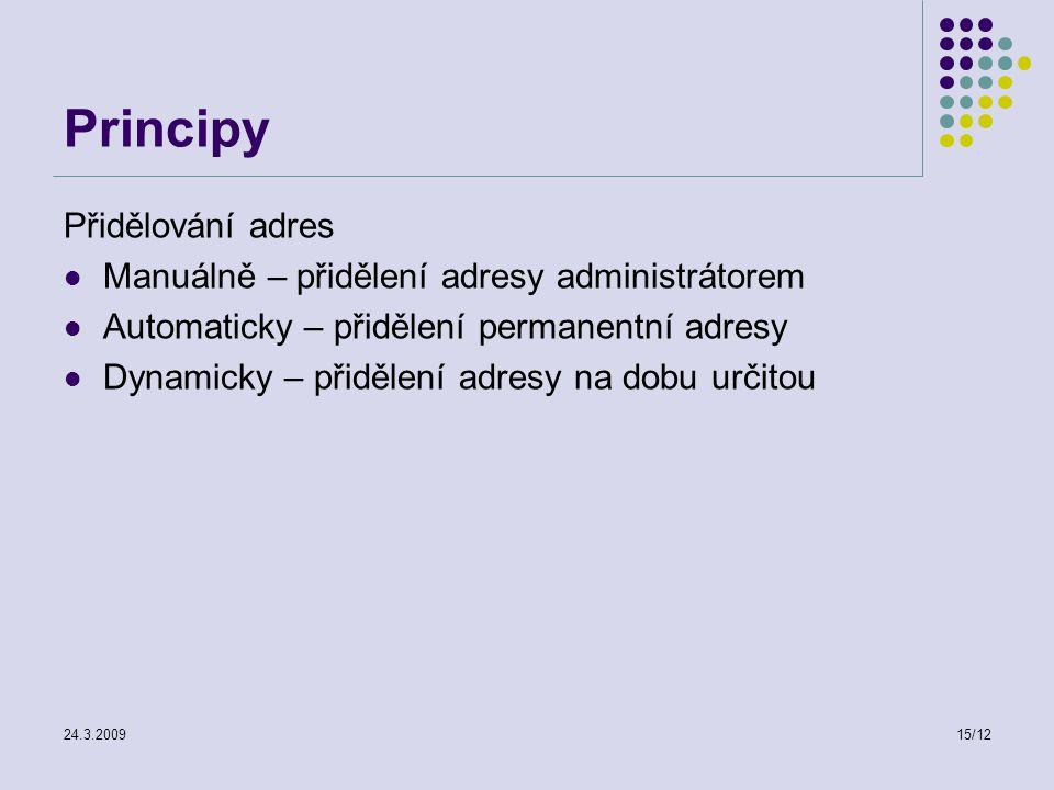 24.3.200915/12 Principy Přidělování adres Manuálně – přidělení adresy administrátorem Automaticky – přidělení permanentní adresy Dynamicky – přidělení adresy na dobu určitou