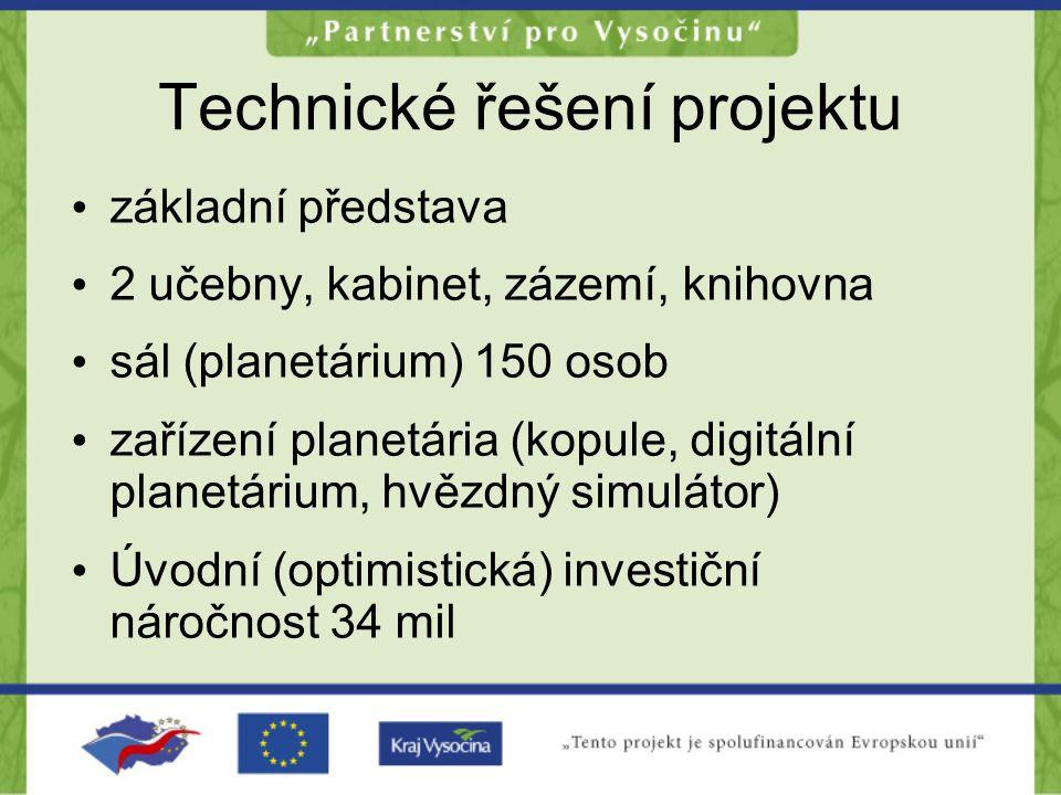 Technické řešení projektu základní představa 2 učebny, kabinet, zázemí, knihovna sál (planetárium) 150 osob zařízení planetária (kopule, digitální planetárium, hvězdný simulátor) Úvodní (optimistická) investiční náročnost 34 mil