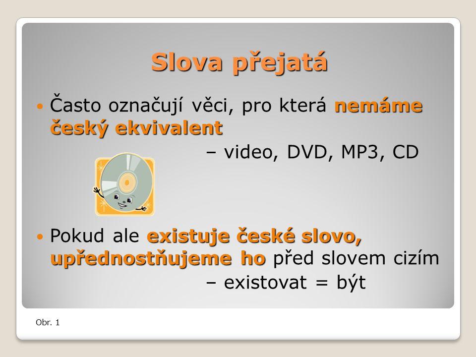 Slova přejatá nemáme český ekvivalent Často označují věci, pro která nemáme český ekvivalent – video, DVD, MP3, CD existuje české slovo, upřednostňujeme ho Pokud ale existuje české slovo, upřednostňujeme ho před slovem cizím – existovat = být Obr.
