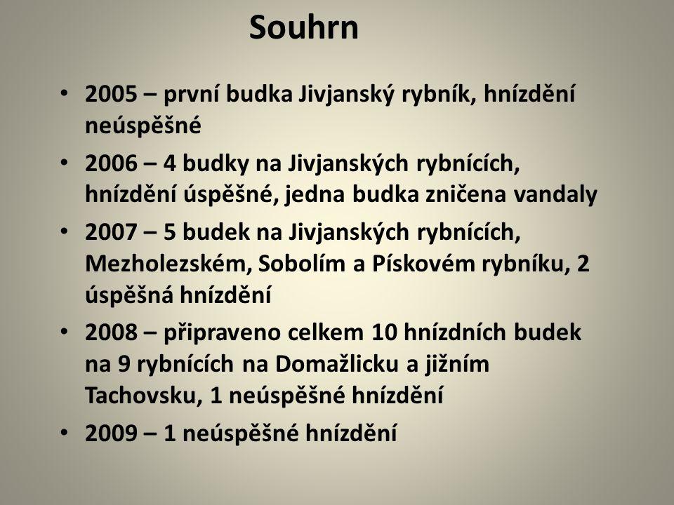 2005 – první budka Jivjanský rybník, hnízdění neúspěšné 2006 – 4 budky na Jivjanských rybnících, hnízdění úspěšné, jedna budka zničena vandaly 2007 –