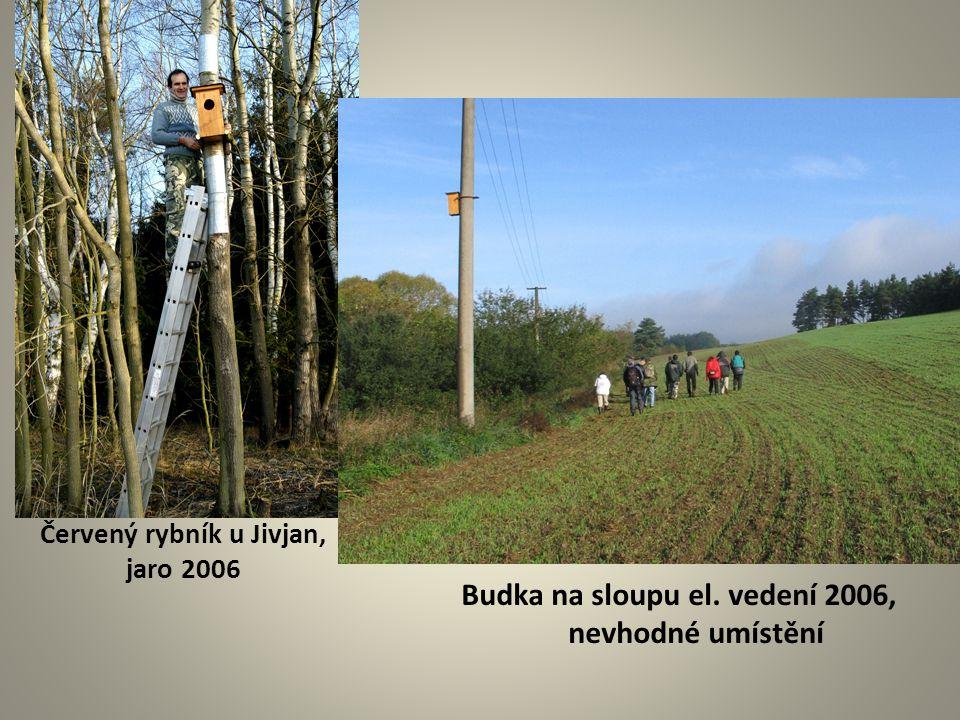 Červený rybník u Jivjan, jaro 2006 Budka na sloupu el. vedení 2006, nevhodné umístění
