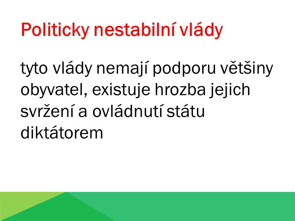 Politicky nestabilní vlády tyto vlády nemají podporu většiny obyvatel, existuje hrozba jejich svržení a ovládnutí státu diktátorem