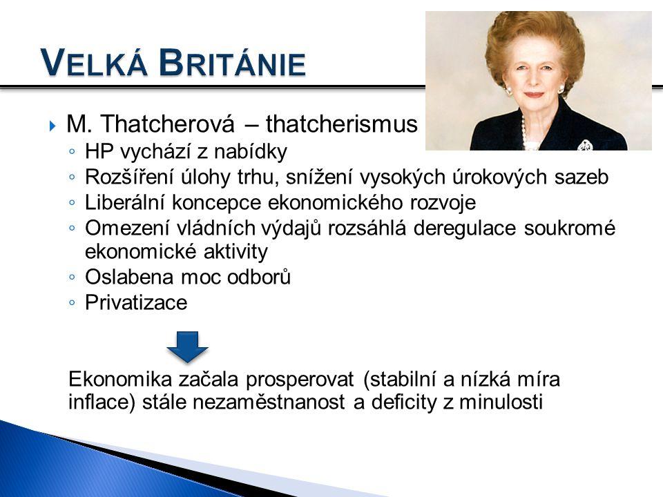  M. Thatcherová – thatcherismus ◦ HP vychází z nabídky ◦ Rozšíření úlohy trhu, snížení vysokých úrokových sazeb ◦ Liberální koncepce ekonomického roz