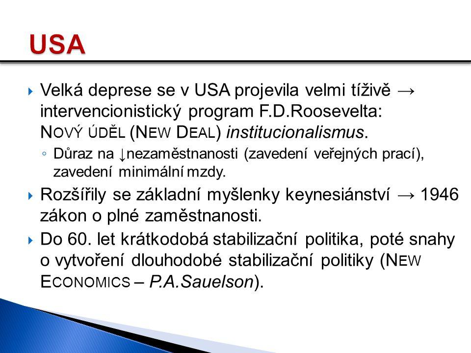  Velká deprese se v USA projevila velmi tíživě → intervencionistický program F.D.Roosevelta: N OVÝ ÚDĚL (N EW D EAL ) institucionalismus. ◦ Důraz na