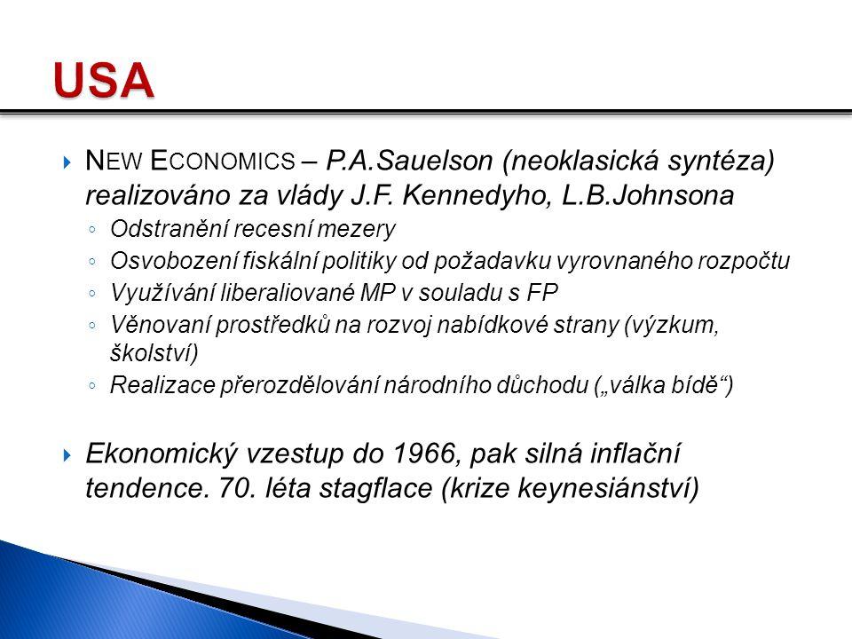  N EW E CONOMICS – P.A.Sauelson (neoklasická syntéza) realizováno za vlády J.F. Kennedyho, L.B.Johnsona ◦ Odstranění recesní mezery ◦ Osvobození fisk