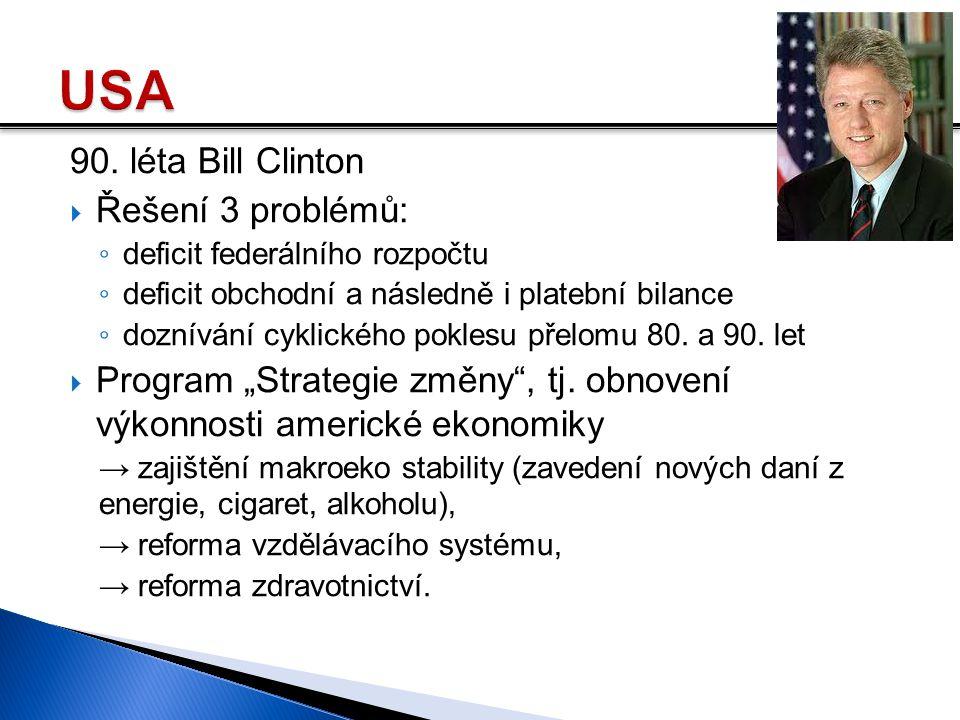 90. léta Bill Clinton  Řešení 3 problémů: ◦ deficit federálního rozpočtu ◦ deficit obchodní a následně i platební bilance ◦ doznívání cyklického pokl