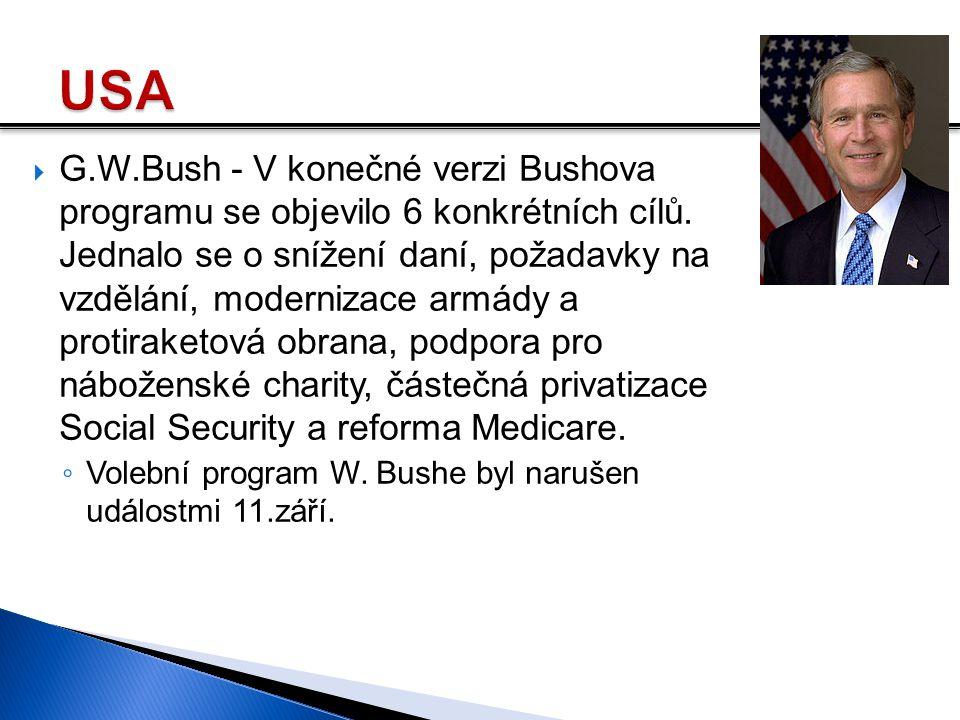  G.W.Bush - V konečné verzi Bushova programu se objevilo 6 konkrétních cílů. Jednalo se o snížení daní, požadavky na vzdělání, modernizace armády a p