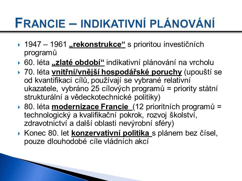 """ 1947 – 1961 """"rekonstrukce"""" s prioritou investičních programů  60. léta """"zlaté období"""" indikativní plánování na vrcholu  70. léta vnitřní/vnější ho"""
