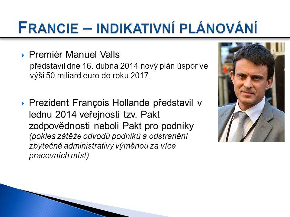  Premiér Manuel Valls představil dne 16. dubna 2014 nový plán úspor ve výši 50 miliard euro do roku 2017.  Prezident François Hollande představil v