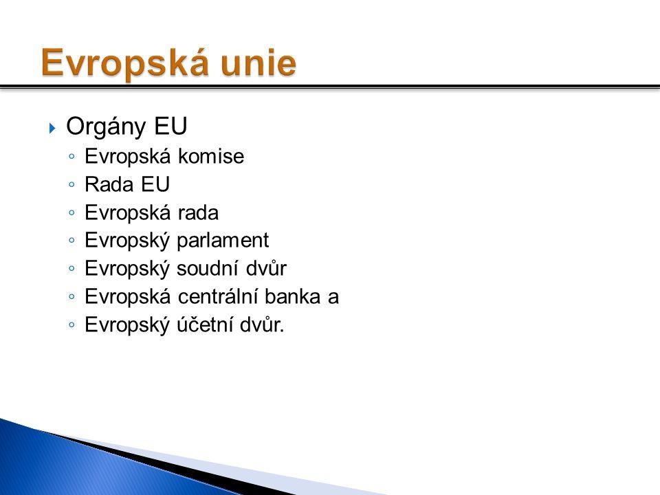  Orgány EU ◦ Evropská komise ◦ Rada EU ◦ Evropská rada ◦ Evropský parlament ◦ Evropský soudní dvůr ◦ Evropská centrální banka a ◦ Evropský účetní dvů