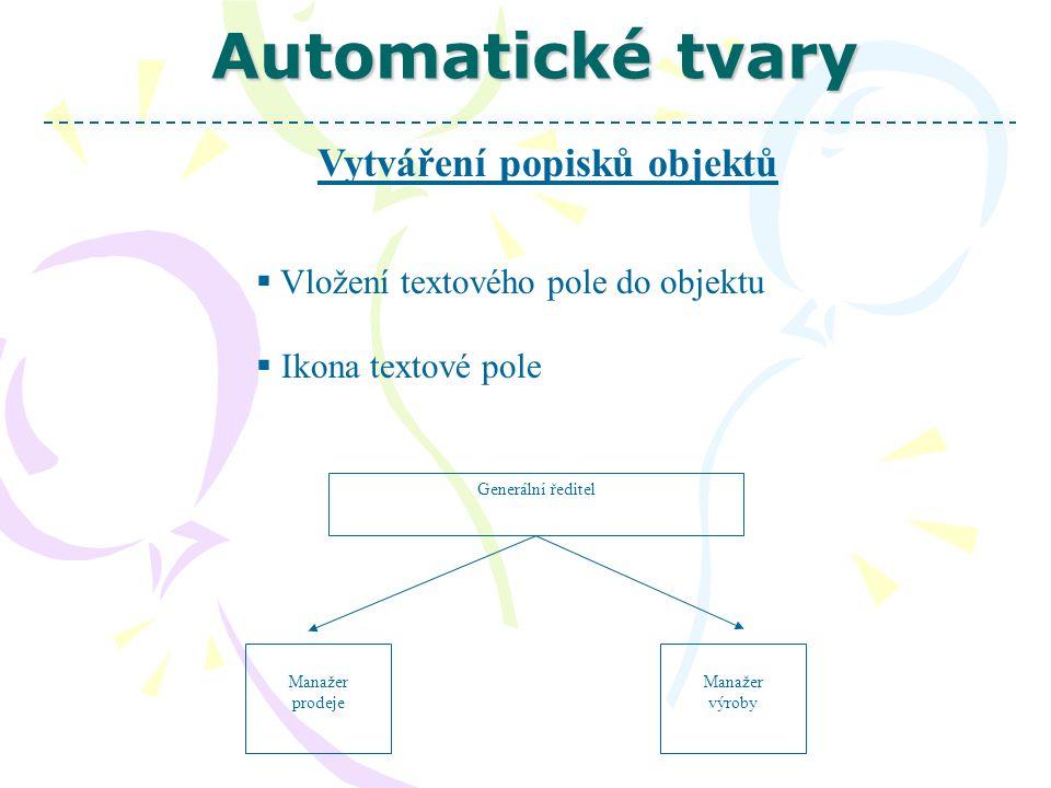 Automatické tvary Vytváření popisků objektů  Vložení textového pole do objektu  Ikona textové pole Generální ředitel Manažer výroby Manažer prodeje
