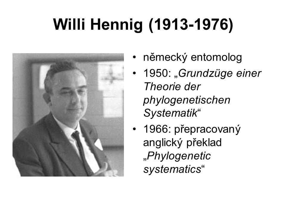 """Willi Hennig (1913-1976) německý entomolog 1950: """"Grundzüge einer Theorie der phylogenetischen Systematik"""" 1966: přepracovaný anglický překlad """"Phylog"""