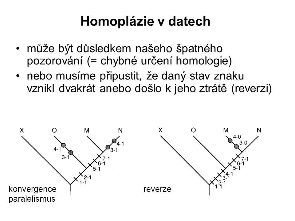 Homoplázie v datech může být důsledkem našeho špatného pozorování (= chybné určení homologie) nebo musíme připustit, že daný stav znaku vznikl dvakrát