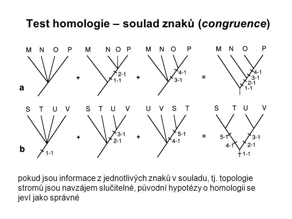 pokud jsou informace z jednotlivých znaků v souladu, tj. topologie stromů jsou navzájem slučitelné, původní hypotézy o homologii se jeví jako správné