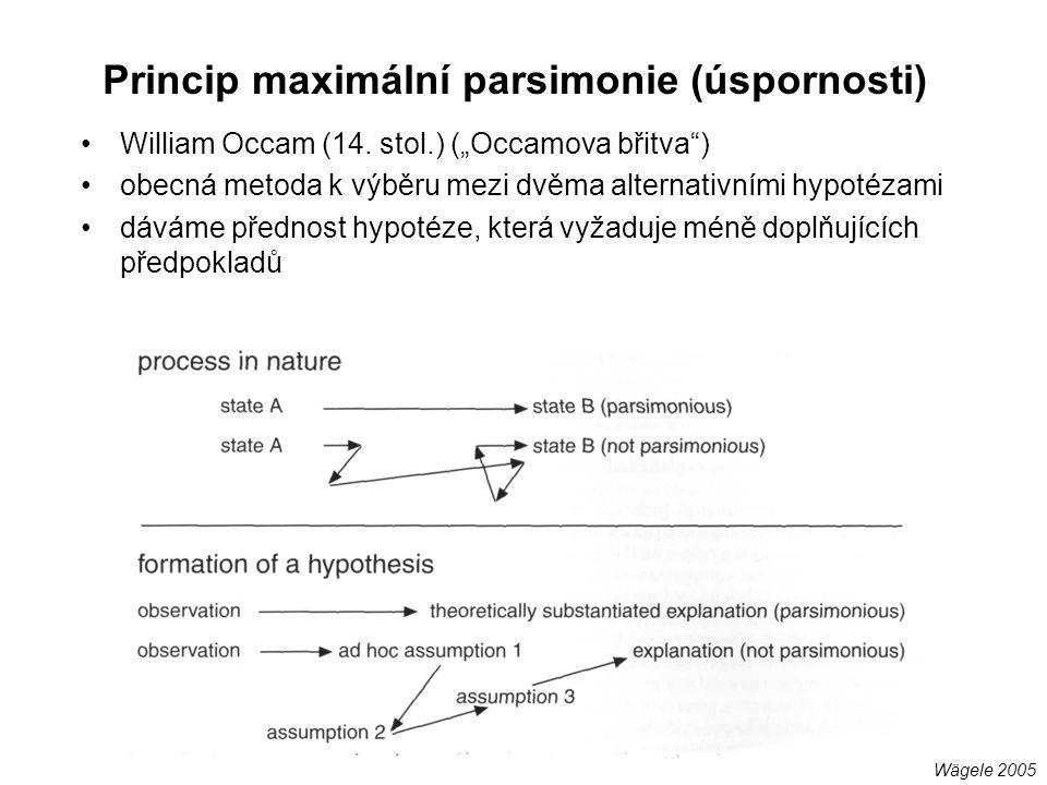 """Princip maximální parsimonie (úspornosti) William Occam (14. stol.) (""""Occamova břitva"""") obecná metoda k výběru mezi dvěma alternativními hypotézami dá"""