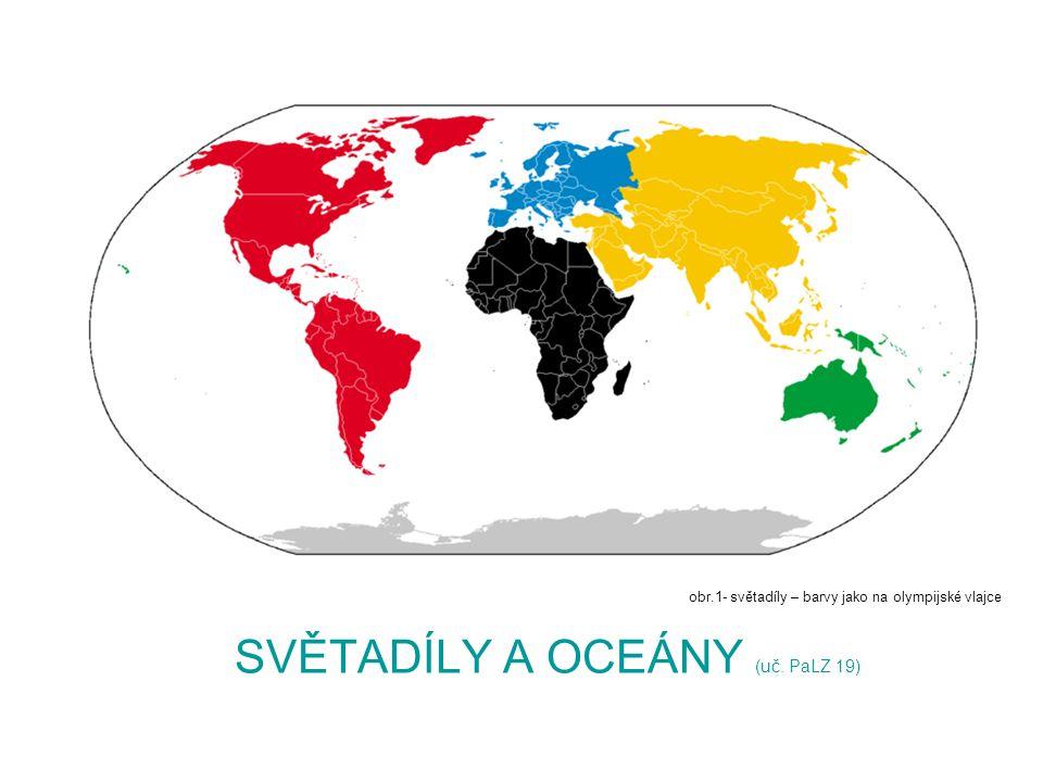 SVĚTADÍLY A OCEÁNY (uč. PaLZ 19) obr.1- světadíly – barvy jako na olympijské vlajce