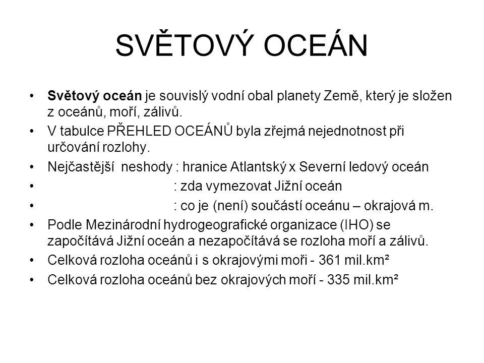 SVĚTOVÝ OCEÁN Světový oceán je souvislý vodní obal planety Země, který je složen z oceánů, moří, zálivů. V tabulce PŘEHLED OCEÁNŮ byla zřejmá nejednot