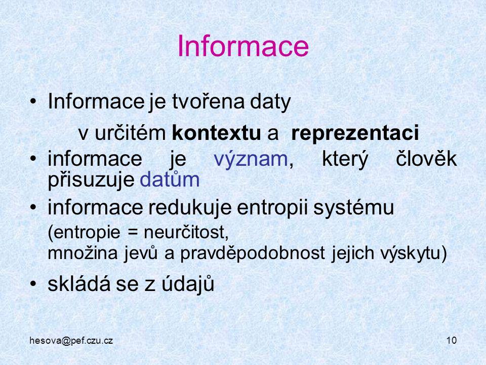 hesova@pef.czu.cz10 Informace Informace je tvořena daty v určitém kontextu a reprezentaci informace je význam, který člověk přisuzuje datům informace