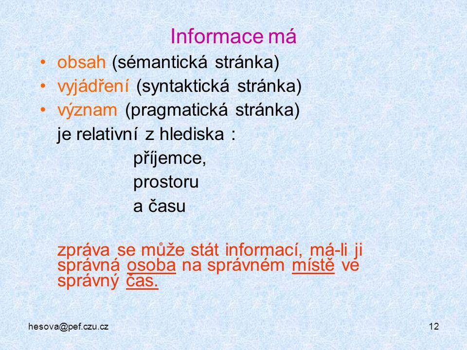 hesova@pef.czu.cz12 Informace má obsah (sémantická stránka) vyjádření (syntaktická stránka) význam (pragmatická stránka) je relativní z hlediska : pří