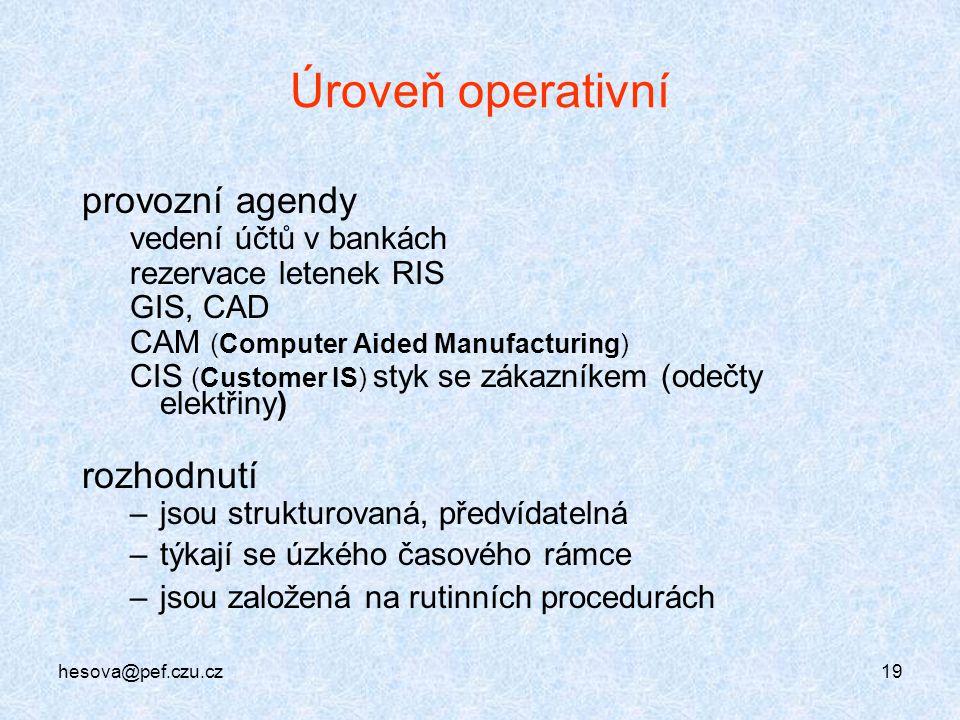 hesova@pef.czu.cz19 Úroveň operativní provozní agendy vedení účtů v bankách rezervace letenek RIS GIS, CAD CAM (Computer Aided Manufacturing) CIS (Cus
