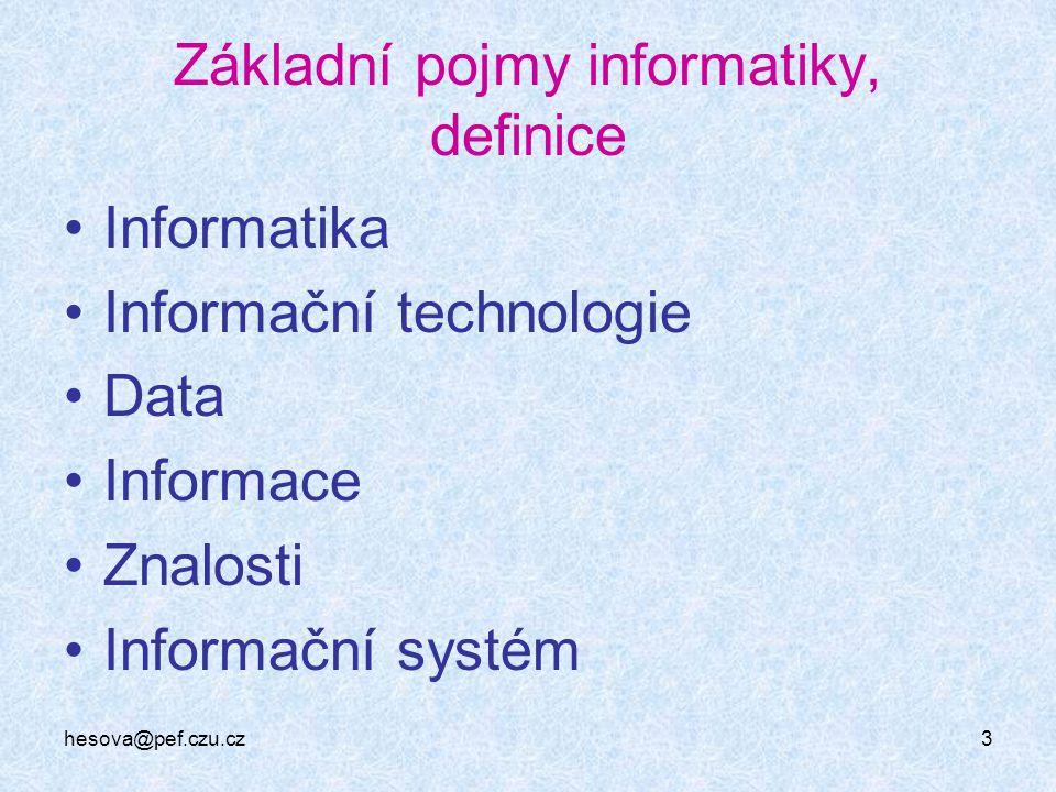 3 Základní pojmy informatiky, definice Informatika Informační technologie Data Informace Znalosti Informační systém