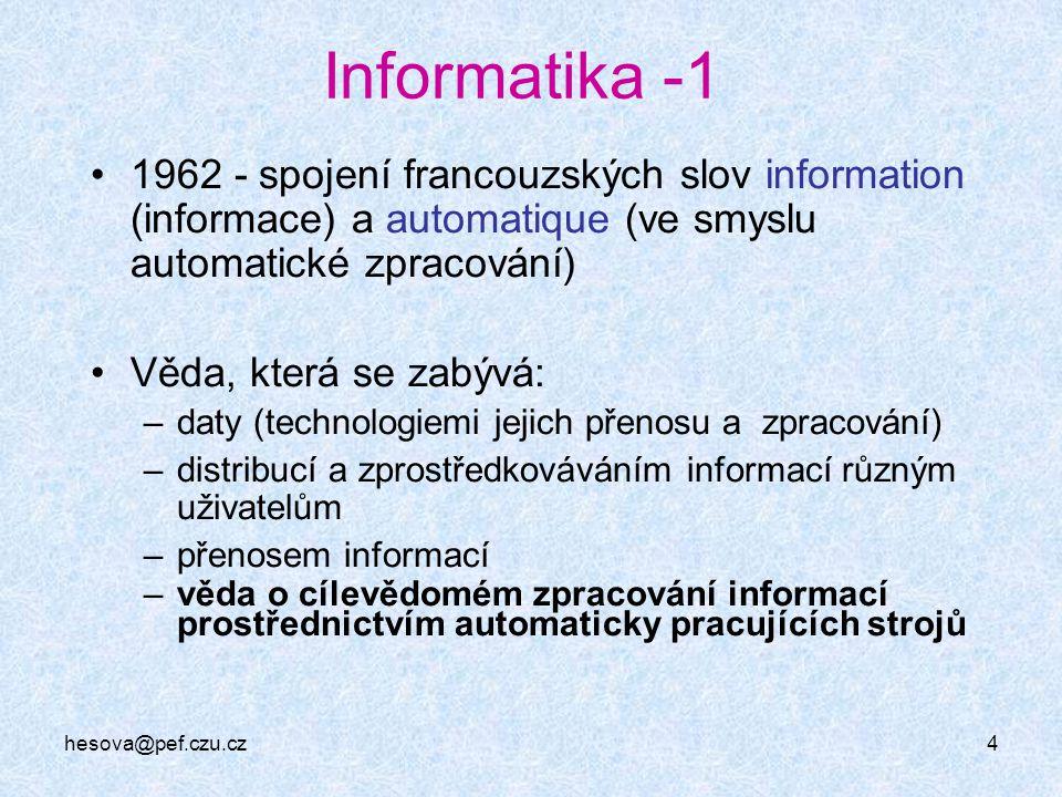 hesova@pef.czu.cz4 Informatika -1 1962 - spojení francouzských slov information (informace) a automatique (ve smyslu automatické zpracování) Věda, kte