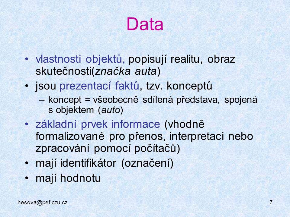 hesova@pef.czu.cz7 Data vlastnosti objektů, popisují realitu, obraz skutečnosti(značka auta) jsou prezentací faktů, tzv. konceptů –koncept = všeobecně