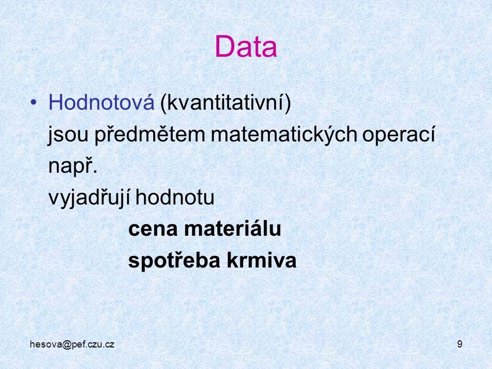 hesova@pef.czu.cz9 Data Hodnotová (kvantitativní) jsou předmětem matematických operací např. vyjadřují hodnotu cena materiálu spotřeba krmiva
