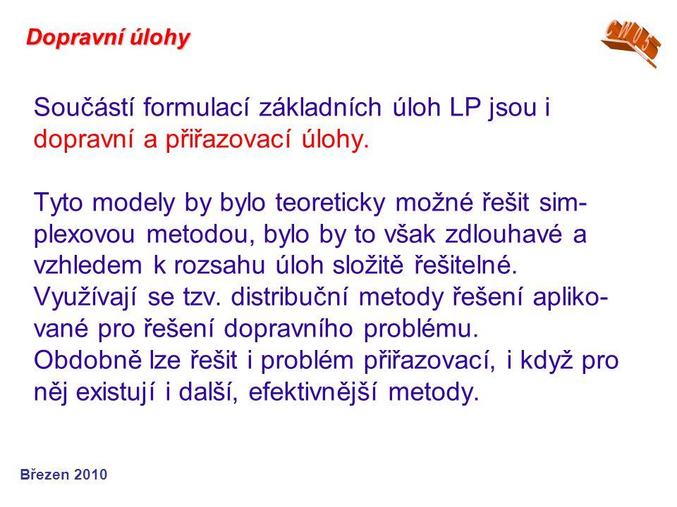 Součástí formulací základních úloh LP jsou i dopravní a přiřazovací úlohy. Tyto modely by bylo teoreticky možné řešit sim- plexovou metodou, bylo by t
