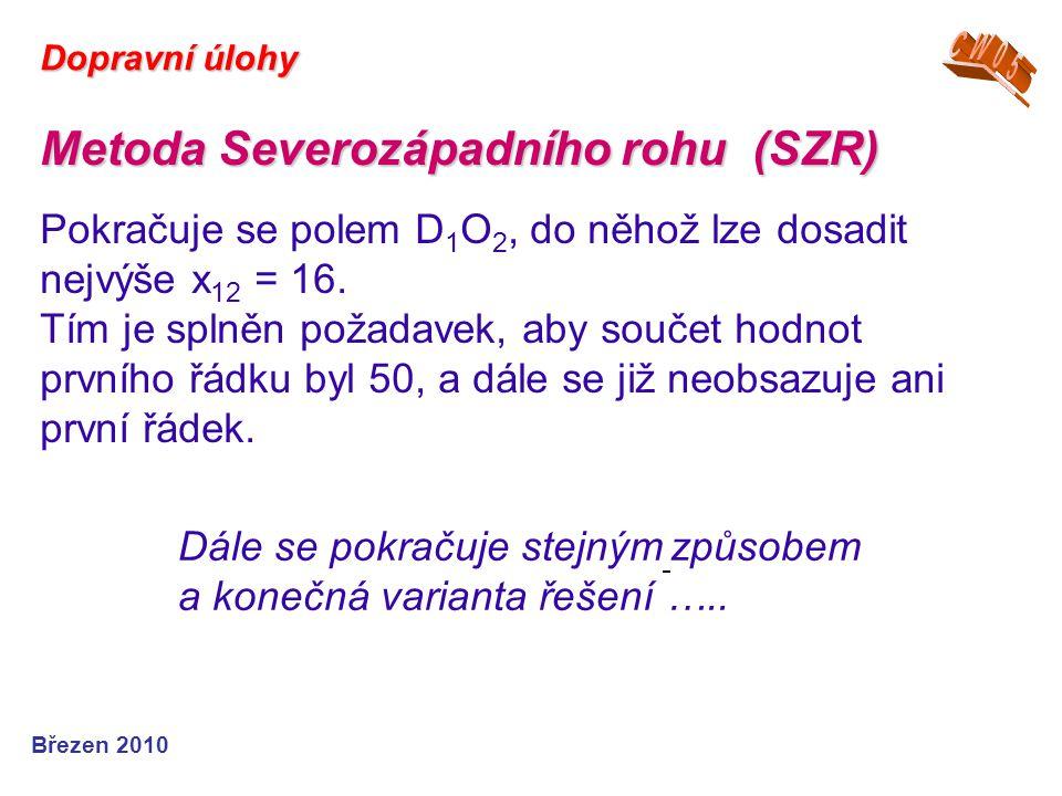 Březen 2010 Dopravní úlohy Metoda Severozápadního rohu (SZR) Pokračuje se polem D 1 O 2, do něhož lze dosadit nejvýše x 12 = 16. Tím je splněn požadav
