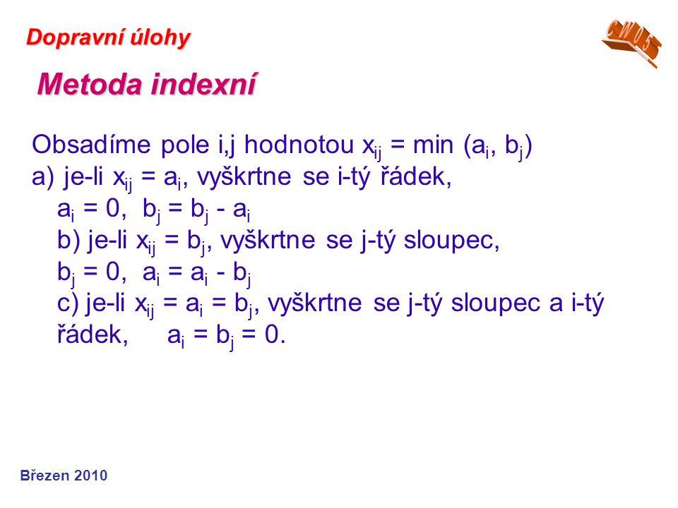 Březen 2010 Dopravní úlohy Obsadíme pole i,j hodnotou x ij = min (a i, b j ) a) je-li x ij = a i, vyškrtne se i-tý řádek, a i = 0, b j = b j - a i b)
