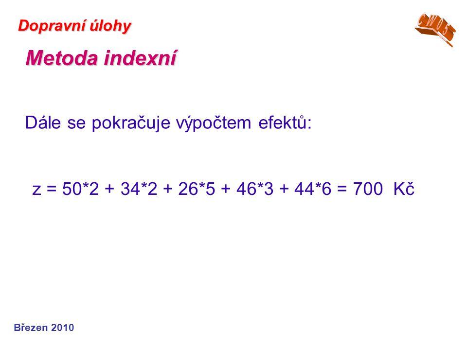 Březen 2010 Dopravní úlohy z = 50*2 + 34*2 + 26*5 + 46*3 + 44*6 = 700 Kč Dále se pokračuje výpočtem efektů: Metoda indexní