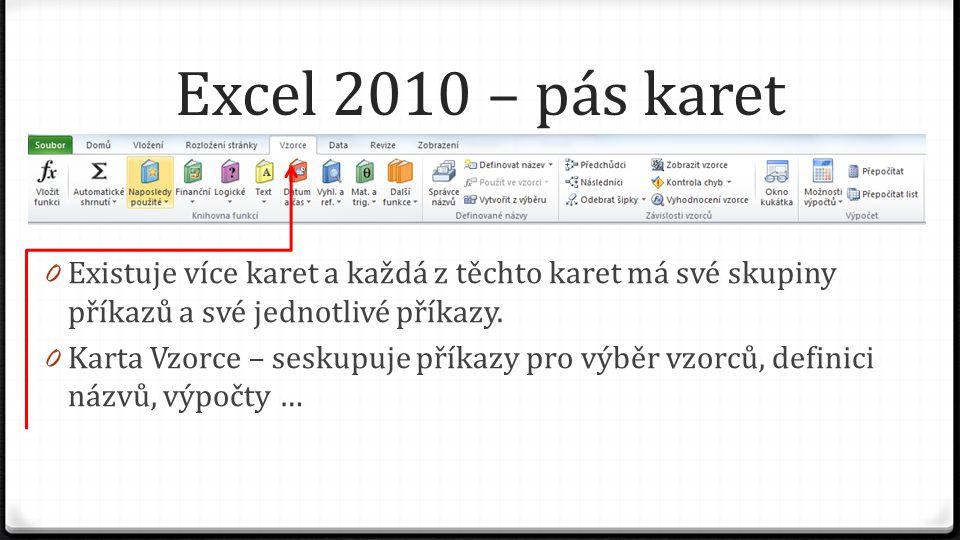 Excel 2010 – pás karet 0 Existuje více karet a každá z těchto karet má své skupiny příkazů a své jednotlivé příkazy. 0 Karta Vzorce – seskupuje příkaz