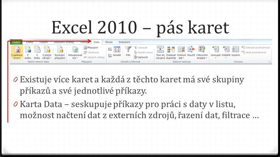 Excel 2010 – pás karet 0 Existuje více karet a každá z těchto karet má své skupiny příkazů a své jednotlivé příkazy. 0 Karta Data – seskupuje příkazy