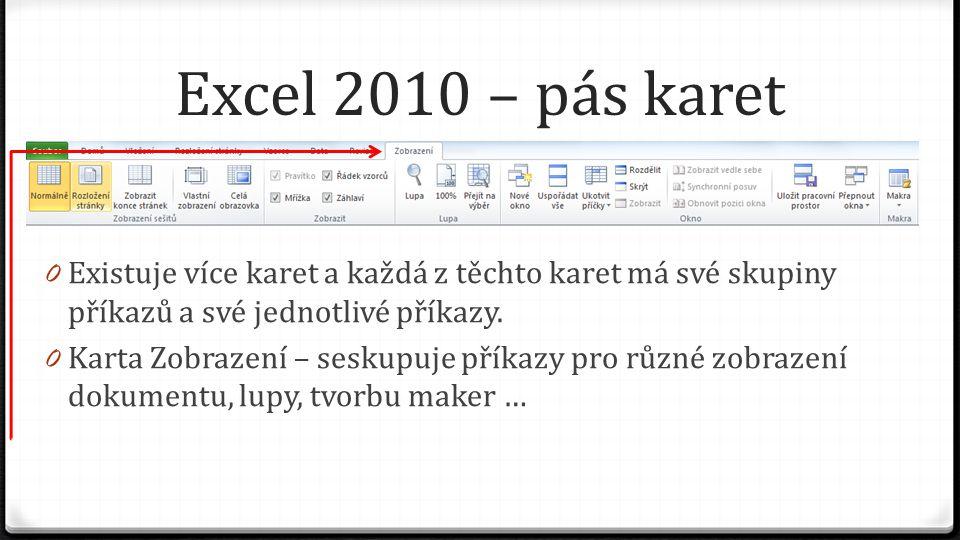 Excel 2010 – pás karet 0 Existuje více karet a každá z těchto karet má své skupiny příkazů a své jednotlivé příkazy. 0 Karta Zobrazení – seskupuje pří