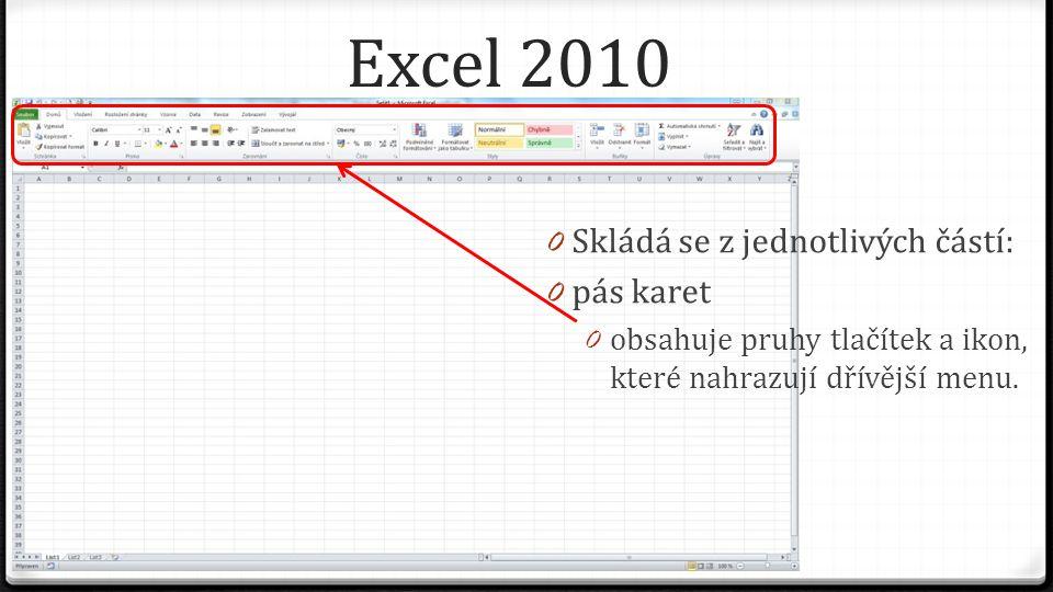 Excel 2010 0 Skládá se z jednotlivých částí: 0 pás karet 0 obsahuje pruhy tlačítek a ikon, které nahrazují dřívější menu.