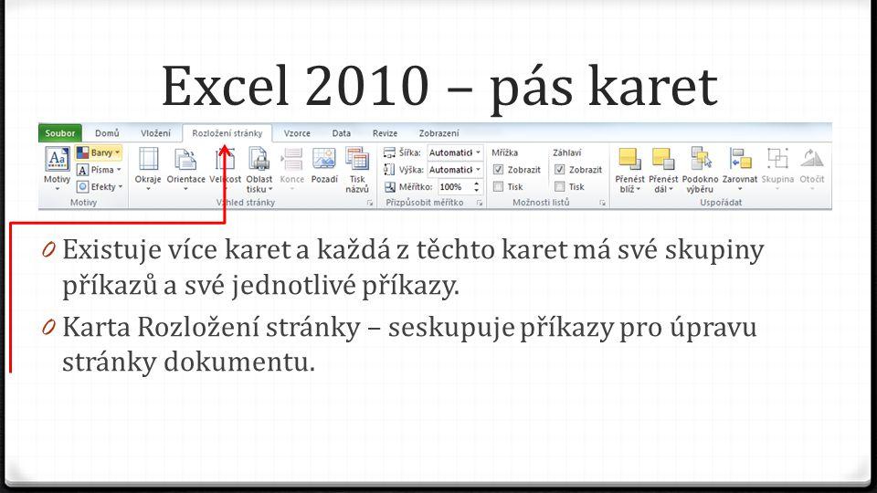 Excel 2010 – pás karet 0 Existuje více karet a každá z těchto karet má své skupiny příkazů a své jednotlivé příkazy. 0 Karta Rozložení stránky – sesku