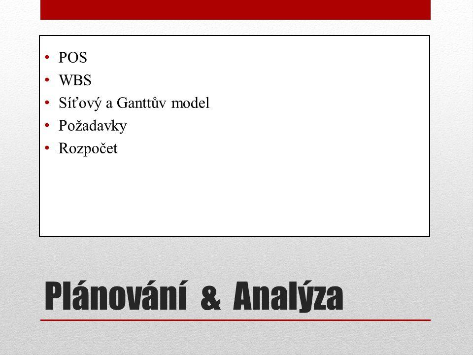Plánování & Analýza POS WBS Síťový a Ganttův model Požadavky Rozpočet