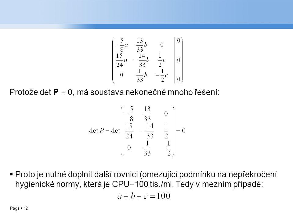 Page  12 Protože det P = 0, má soustava nekonečně mnoho řešení:  Proto je nutné doplnit další rovnici (omezující podmínku na nepřekročení hygienické normy, která je CPU=100 tis./ml.